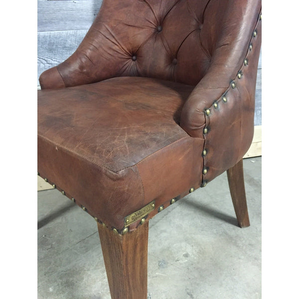 Aged Leather With Tufted Back Chair