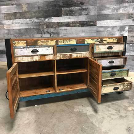 "Cancun Industrial 59"" reclaimed wood rustic buffet side board"