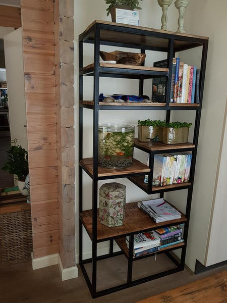 Multi-Shelf Industrial mango wood storage bookcase