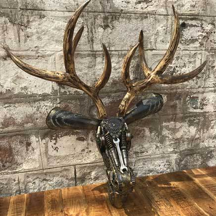 Deer Face wall hanging scrap metal sculpture
