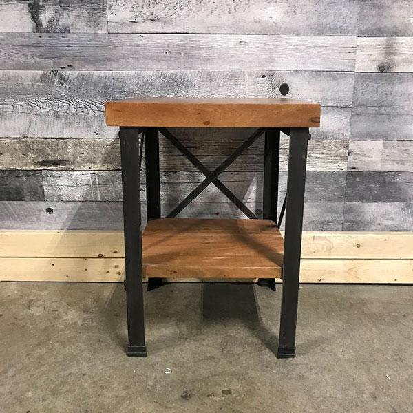 Monroe Industrial acacia end table