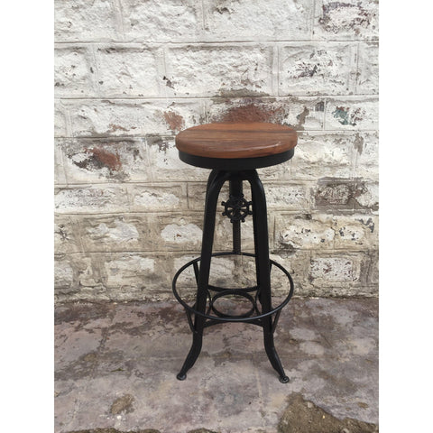 "Industrial Adjustable Recycled Wood 30"" Bar Stool"