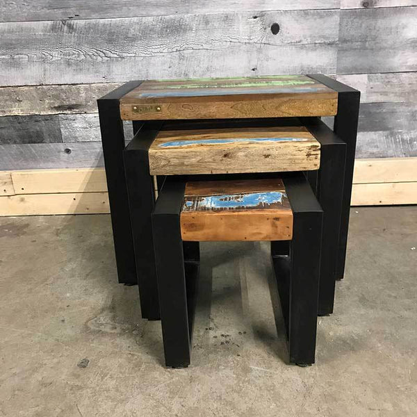 Side tables for living room made from reclaimed wood