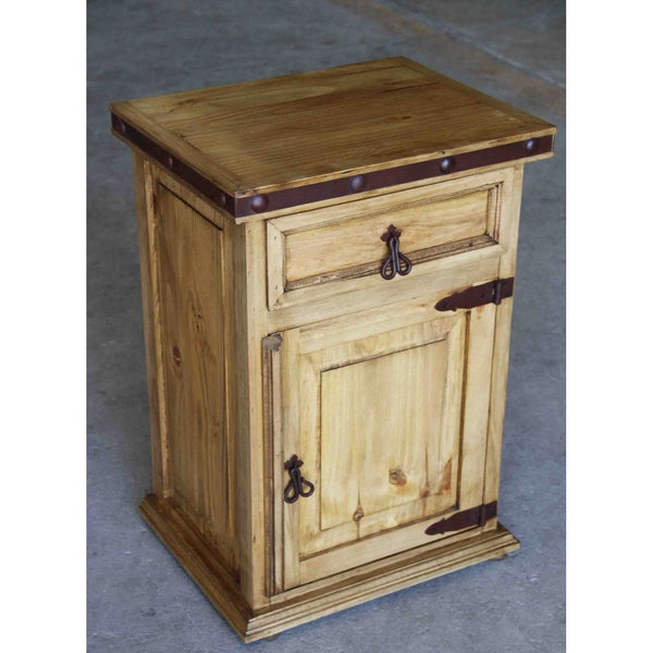 Iron Trim Rustic Pine Night Stand