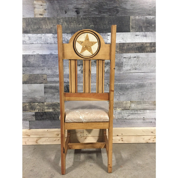 Marble Inlay Star Carving Rustic Pine Chair With Cushion