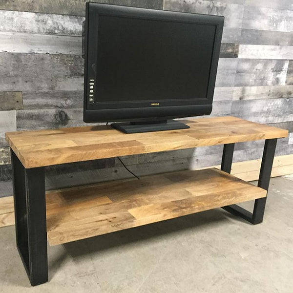 Perfect industrial TV stand mango wood for your loft in Toronto
