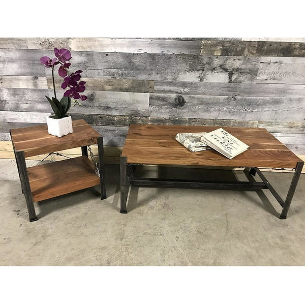 Pair your coffee table with industrial Acacia wood end Tables