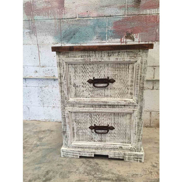 Narrow White Wash Rustic Mexican Pine Filling Cabinet
