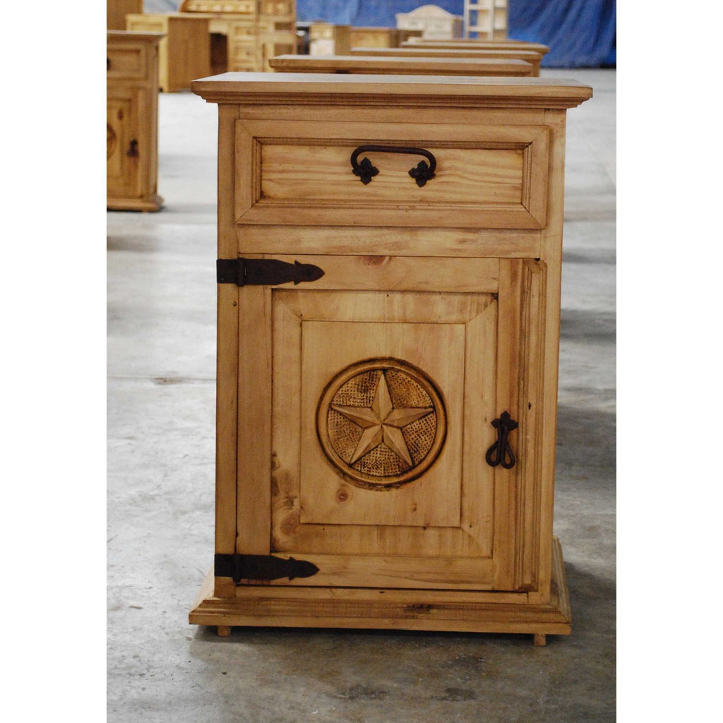 Night Stand - Carved Star Rustic Pine Night Stand