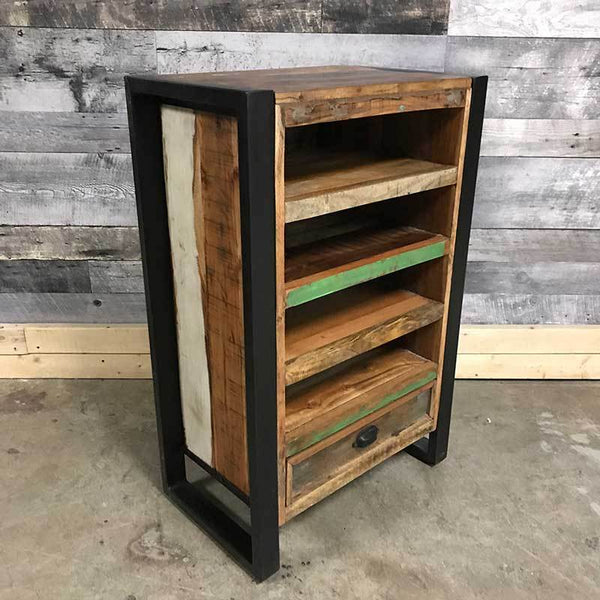 Reclaimed wood shelving media cabinet perfect for small condos