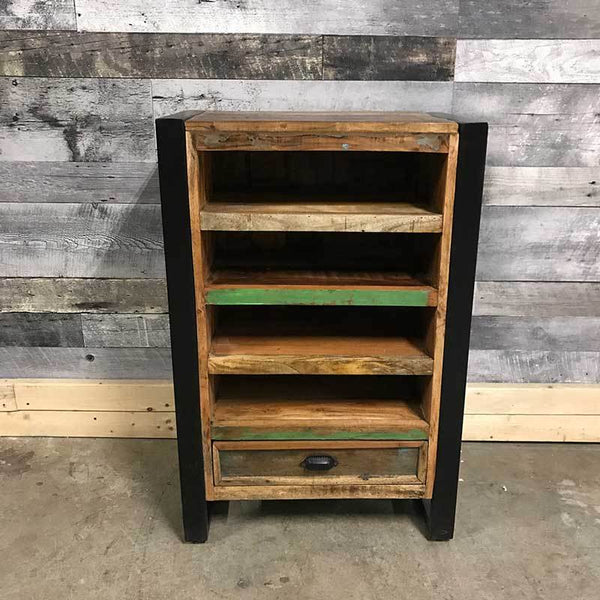 Industrial small rustic shelving cabinet