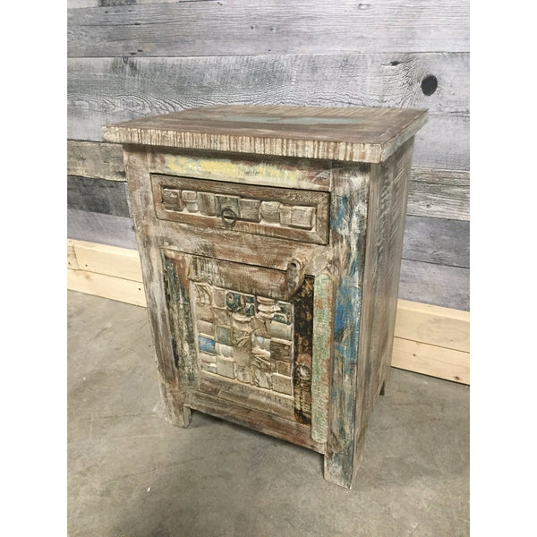 Reclaimed Wood Night Stand 1 Door 1 Drawer Left