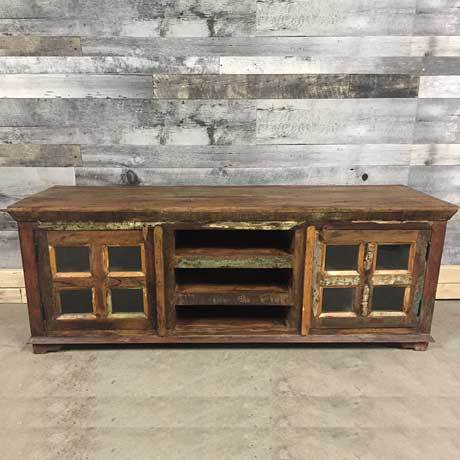 63 inch Long Large Reclaimed Wood Media stand