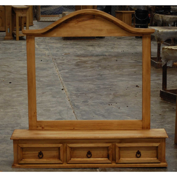 Rustic Pine Mirror With 3 Drawer Base