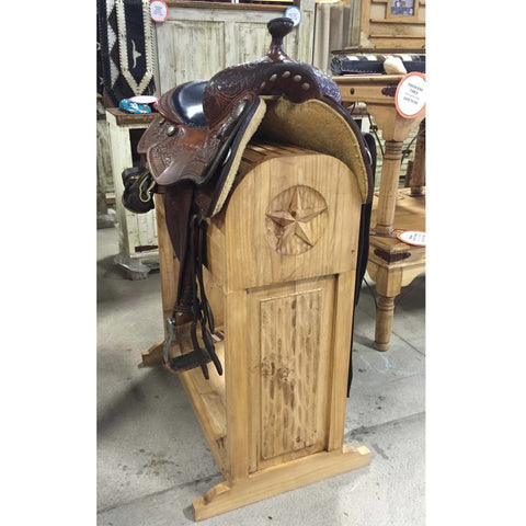 Rustic Pine Saddle Rack