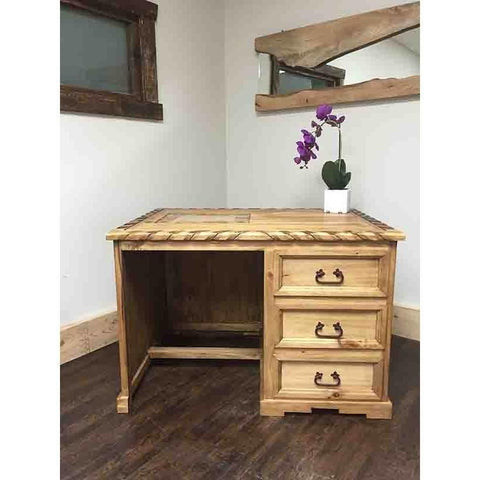 Rustic Rope Trim Marble Inlay Desk