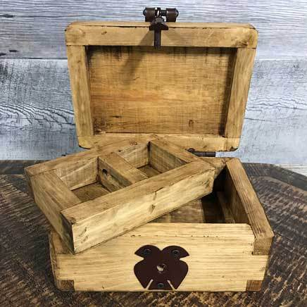 Wooden stowage box with tray