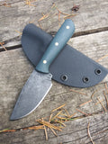 Lifer Knives Skinner in A2 Tool Steel with Green Blue G10