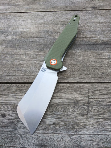 Artisan Cutlery Osprey Flipper with D2 Steel and Olive Drab G10 Scales