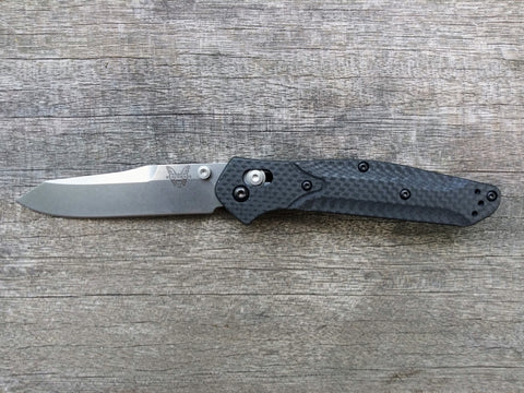 Benchmade 940-1 Osborne AXIS Lock Knife Carbon Fiber Stonewash Plain