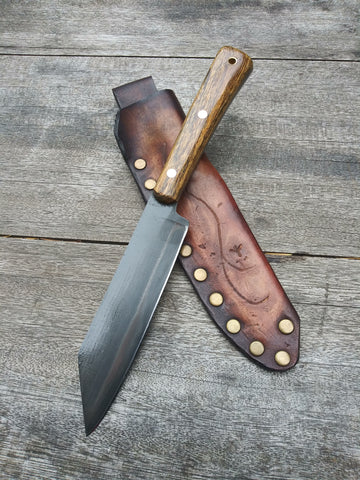Red Troll Forge Wharncliffe Camp Knife in Hammer Forged Black 1095 Blade with Bocote Wood Scales and Saddle Leather Sheath