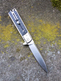 Artisan Cutlery Classic Liner Lock Flipper with D2 Steel and Checkered Black/White G10 Scales