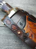 Valavian Edge Primal Bowie 1095 High Carbon with Stag and Stacked Leather Scales