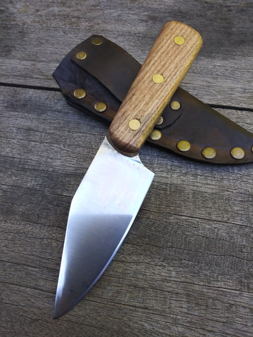 Red Troll Forge Working Man's Skinner in Hammer Forged 1095 Blade with Oak Scales and Leather Sheath