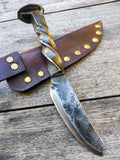 Red Troll Forge Case Hardened & Hammer Forged Railroad Spike Knife #1 with Leather Sheath