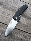LionSteel KUR Liner Lock Flipper in D2 Stone Washed Blade and Black G10 Scales