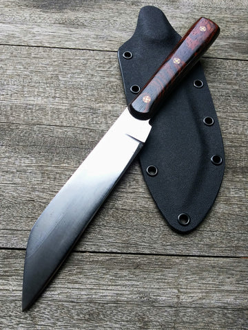 Red Troll Forge Wharncliffe Knife in Hammer Forged Oil Quenched 1095 Blade with Cocobolo Wood Scales and Kydex Sheath