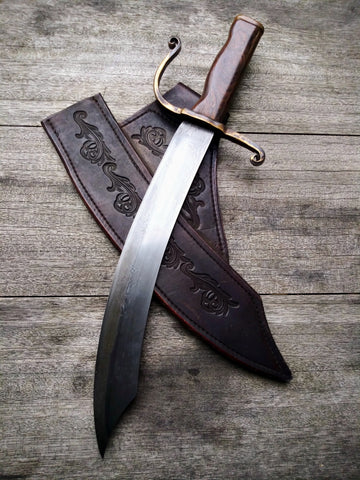 Red Troll Forge Damascus Cutlass in Hammer Forged High Carbon Blade with Cocobolo Scales and Side-drop Saddle Leather Sheath