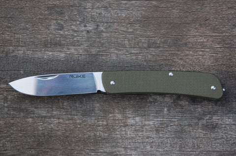 Ruike L11 Large Olive Drab Slip Joint Folder with pocket clip and tweezers