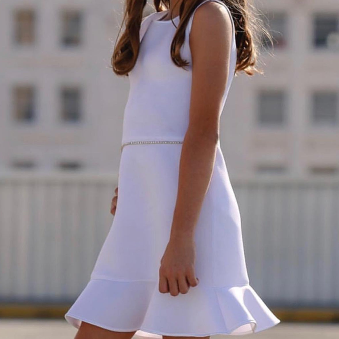 White Sleeveless Scuba Dress