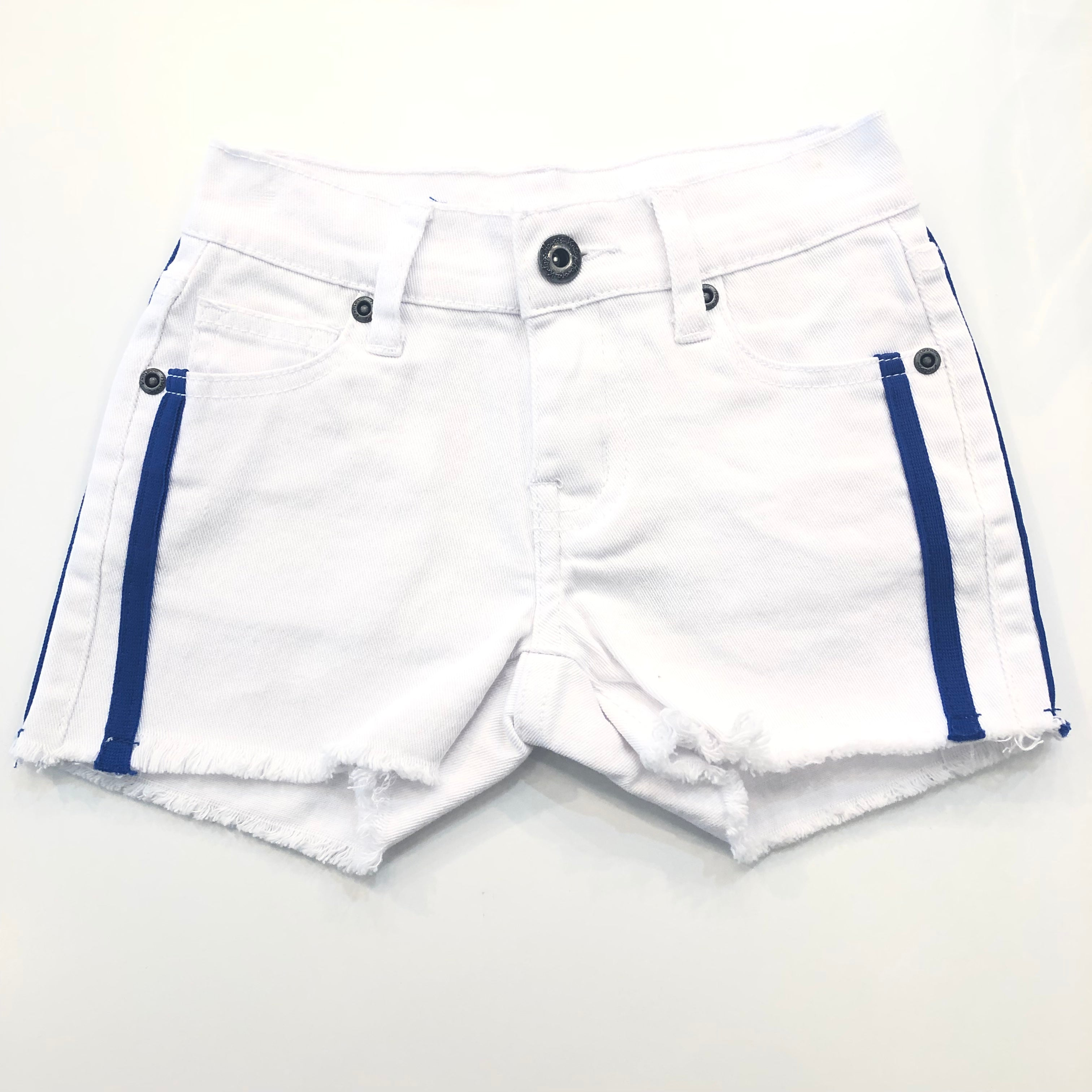 White Short with Blue Side Stripe