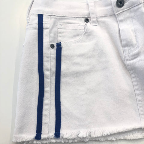 White Skirt with Blue Side Stripe