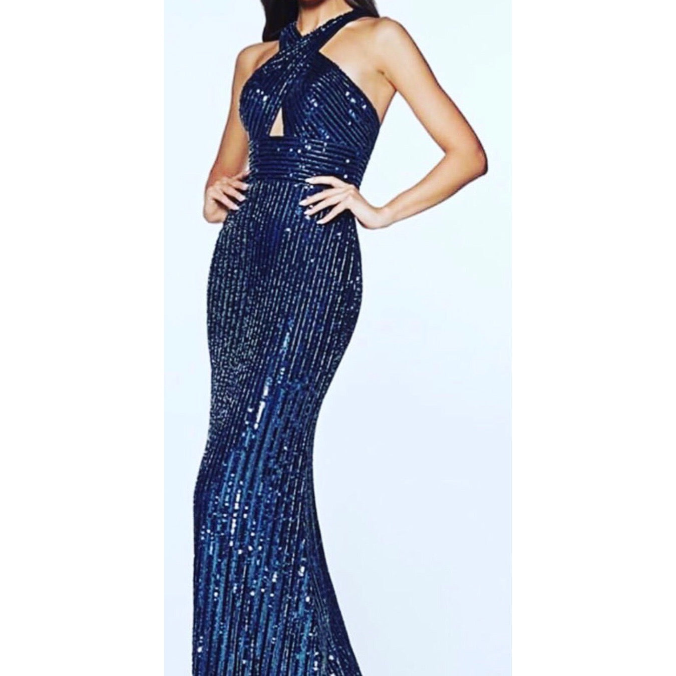 Navy Beaded Halter Dress