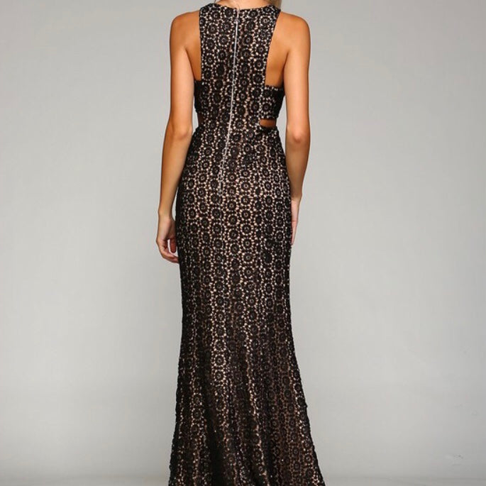 Black/Nude Sequin Long Dress