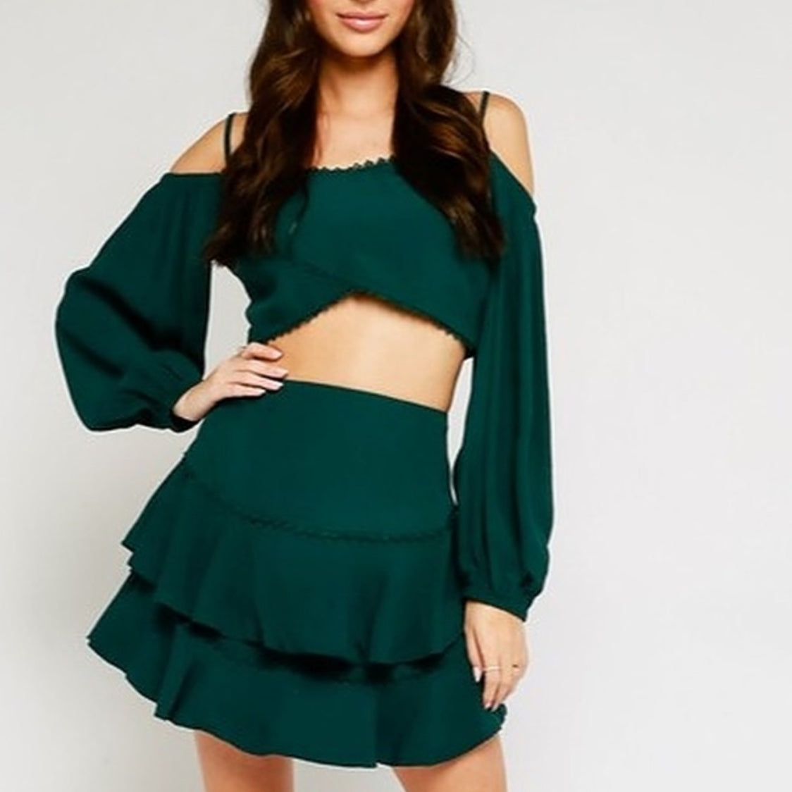 Green Long Sleeve Crop Top