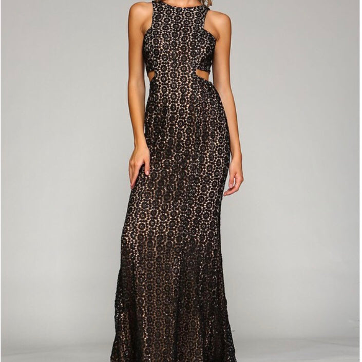 Blacknude Sequin Long Dress Aleren