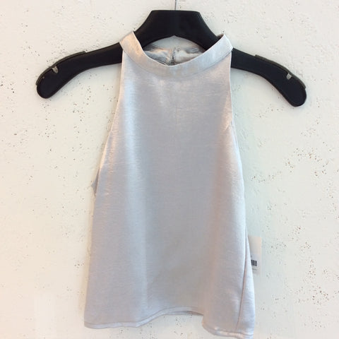Silver Hammered Satin Top