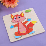 Wooden Cartoon Animals Dimensional Puzzle With 14 Patten Options