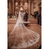 4 Meter White/Ivory Cathedral Length Lace Edge Wedding Veil With Comb