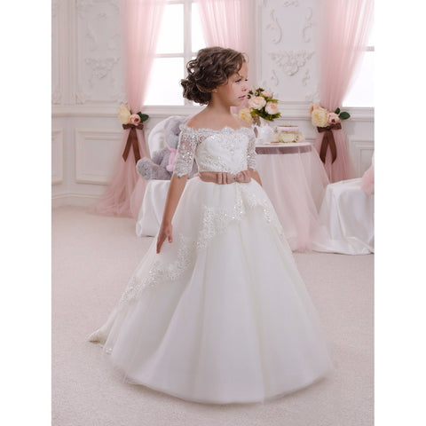 Kimberly Classic Flower Girl Dress with Off Shoulder Sleeves