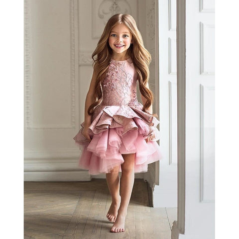 Crystal Asymmetrical Flower Girl Dress with Floral Bodice and Tulle Skirt