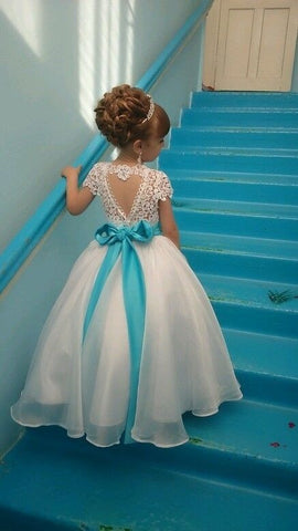 Lace Flower Girl Dress with Cap Sleeves, Tulle Skirt, Heart Back Cut-Out and Acrylic Crystal Belt