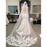 3 Meter Long Cathedral Wedding Veil with Floral Lace Edge and Comb