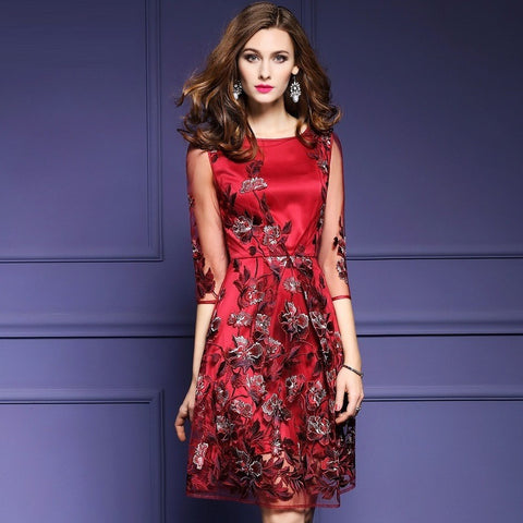 Joyce - Red Floral Embroidered Cocktail Dress