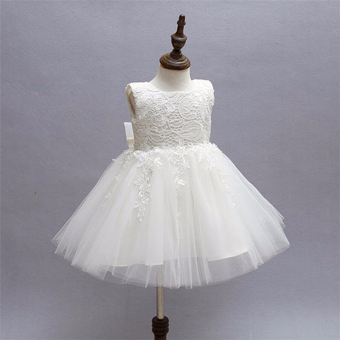 White Lace and Tulle Flower Girl Dress with Ribbon Back