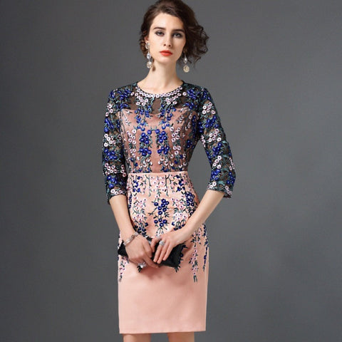 Heather - Embroidered Floral Cocktail Dress